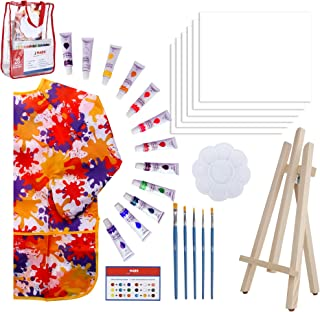 Paint Easel Kids Art Set– 28-Piece Acrylic Painting Supplies Kit with Storage Bag, 12 Non Toxic Washable Paints, 1 Scratch Free Wood Easel, 6 Blank Canvases 8 x 10 inches, 5 Brushes, 10 Well Palette,