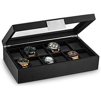 Glenor Co Watch Box for Men - 12 Slot Luxury Carbon Fiber Design Display Case, Large Holder, Metal Buckle - Black
