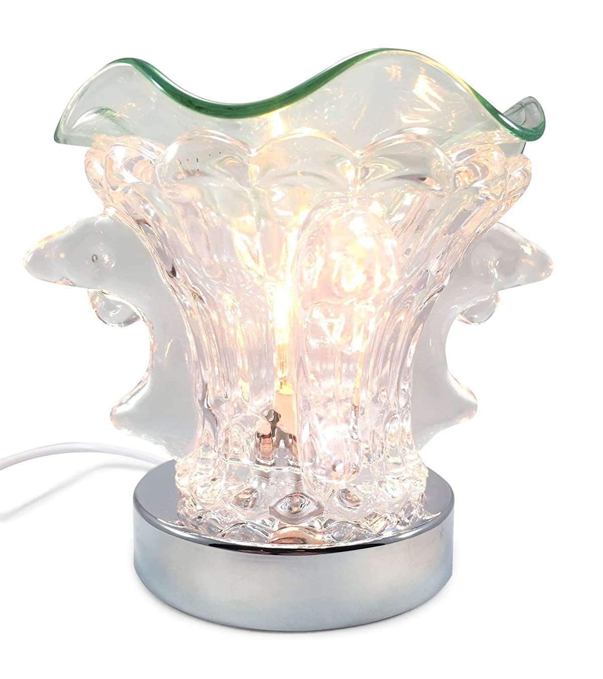 Dolphin Fountain, Clear Glass Electric Touch-controlled Fragrance Lamp with Free Replacement Halogen Bulb