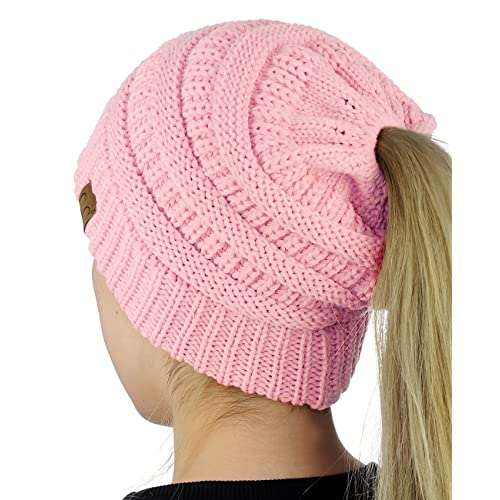 bbd997ecfec6f0 C.C BeanieTail Soft Stretch Cable Knit Messy High Bun Ponytail Beanie Hat
