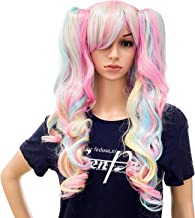 SWACC Long Curly Double Claw Clip on Ponytail Wig Synthetic Pastel Colorful Cosplay Daily Party Wig for Women and Kids with Wig Cap (Multi-Color Pink/Blue/Blonde-3)