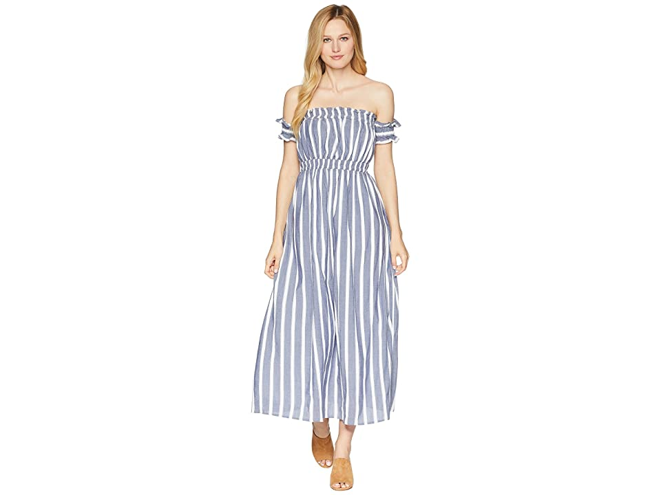 CeCe Billie Off the Shoulder Striped Maxi (Rainfall) Women