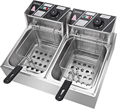 OLYM STORE 12L Electric Countertop Deep Fryer, 5000W, Dual Tank Kitchen Frying Machine, Countertop Stainless Steel French Fry w/Baskets