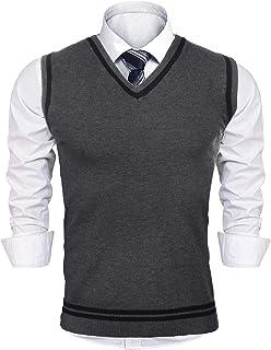 iClosam Gilet Maglione da Uomo Inverno V-Collo Cotone Casual Pullover Smanicato Maglia Sweater Felpa Men