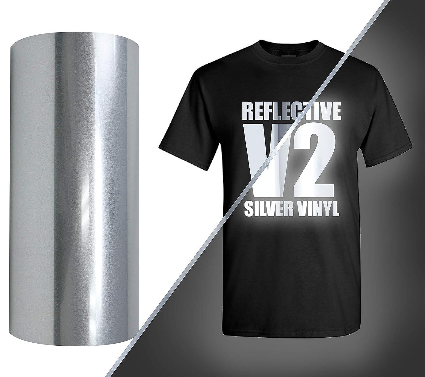 V2 Pro Heat Transfer Vinyl Film HTV Roll (Silver Reflective, 12