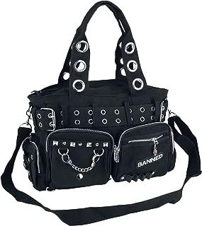 Banned Apparel Handcuff Black Canvas Silver Studded Vegan Gothic Handbag