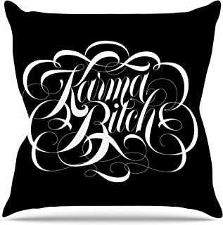 "KESS InHouse RP1050AOP03 18 x 18-Inch ""Roberlan Karma Beesh black white"" Outdoor Throw Cushion - Multi-Colour"