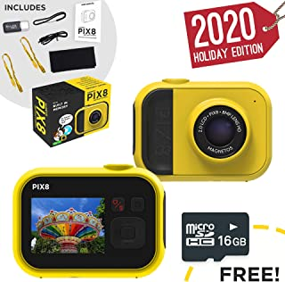 MAGNETOS Kids Camera PIX8, Internal Memory 16GB, Digital HD Video 8MP Camera Toy 2019 for All Ages 4 6 8 10 12 Years Old, Built-in Battery & Accessories, Birthday Christmas Boys Girls Children