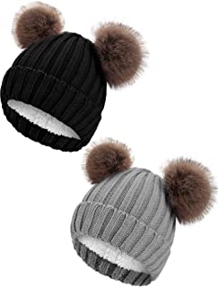 Syhood Kids Winter Double Pompom Hats Fleece Lined Knit Beanie Caps for 2-6 Year (Black, Gray)