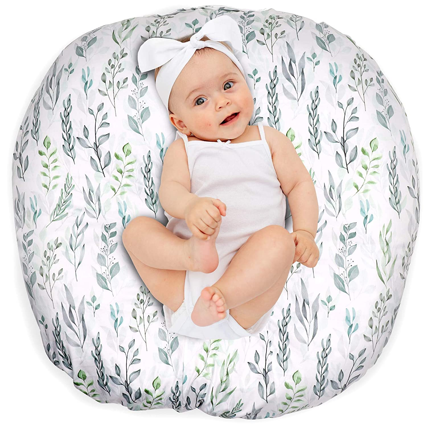 Newborn Lounger Cover Removable Cover Ultra Soft Comfortable Lounger Slipcover Removable Cover for Infant Lounger Pillow (Leaf)