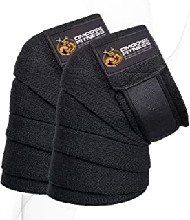 DMoose Fitness Knee Wraps – Strong Fastening Straps, Durable Stitching – Heavy Duty 78