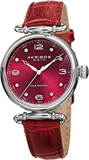 Akribos XXIV Women's Petite Watch - Diamond Hour Markers On a Crocodile Embossed Leather Strap - AK878