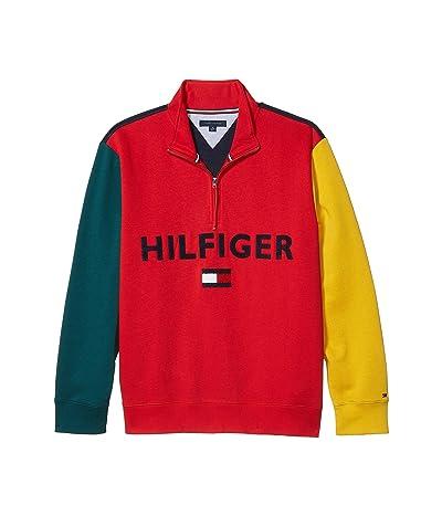 Tommy Hilfiger Adaptive Colorblock Mockneck Sweater (Apple Red/Sky Captain) Men