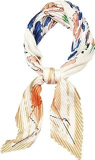 LOUJLU Fashion Pleated Silk Like Lightweight Hair Neck Headband Square Satin Scarves for Women