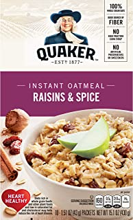 Quaker Instant Oatmeal, Raisin & Spice, Breakfast Cereal, 10 count , 1.51 oz Packets Per Box (Pack of 4)