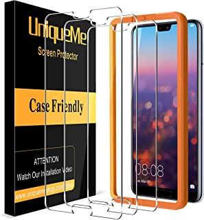 UniqueMe 3 pack screen protector for Huawei P20 Pro tempered glass, [Alignment Easy Installation Frame] Case Friendly No-B...