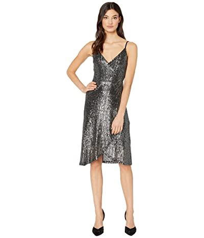 Cupcakes and Cashmere Joelle Faux Wrap Sequin Dress (Black) Women