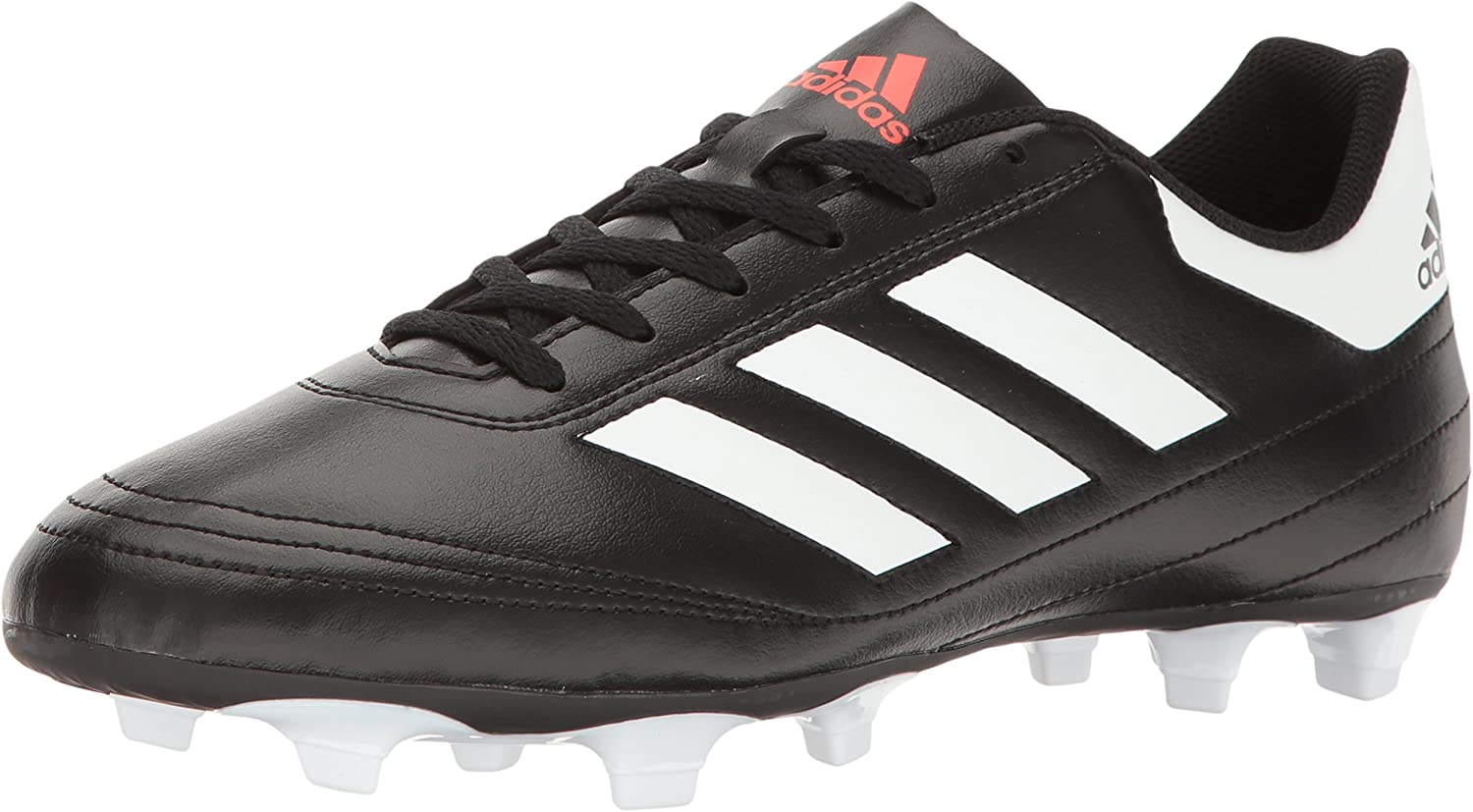 Adidas Men's Goletto VI Firm Ground Soccer shoes, Black White Solar red, 8.5 M US