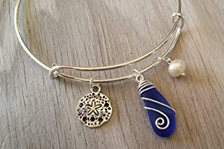"product image for Handmade in Hawaii, wire wrapped cobalt Sapphire blue sea glass bracelet, sand dollar charm,""September Birthstone"", (Hawaii Gift Wrapped, Customizable Gift Message)"