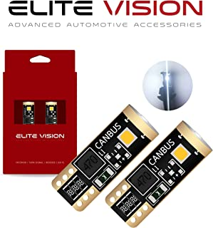 Elite Vision 194 168 T10 192 2825 W5W Titanium Series LED Non-Polarity 400LM 6000K Bright White for Dome Map Courtesy Door License Plate Cargo Interior Lights (Pack of 2)