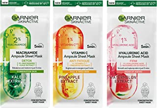 Garnier Ampoule Sheet Masks, Pineapple & 1% Vitamin C To Brighten Skin, Watermelon & 1% Hyaluronic Acid To Replump Skin, K...
