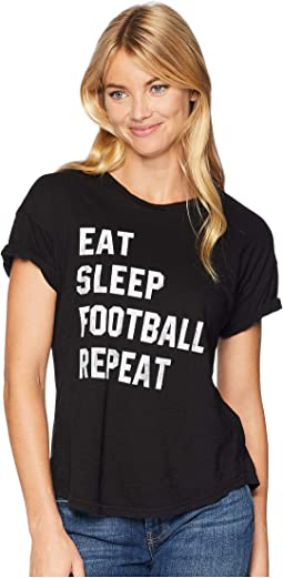 Eat Sleep Football Repeat Short Sleeve Slub Crew Neck