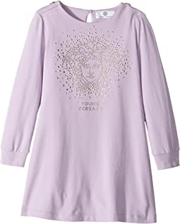 Versace Kids - Long Sleeve Dress w/ Embellished Medusa On Front (Toddler/Little Kids)
