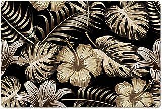 Meet 1998 Leather Doormat Florals Plant Hibiscus Tropical Non-Slip Rubber Floor Mats Vintage Durable Outdoor Entrance Rug ...