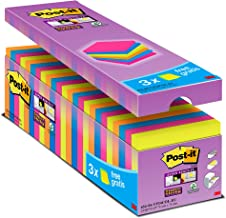 3M Post-It 654-SS-VP24COL-EU - Pack de 24 x 90 notas adhesivas /Bloc de notas Post it 76 x 76 mm, colores: neón, naranja, fucsia, azul