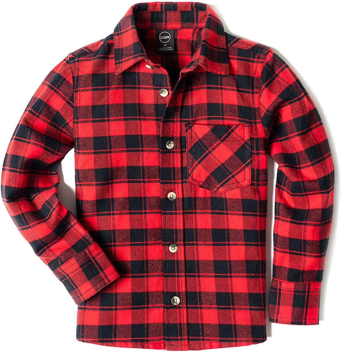 CQR Kids Little Boys Girls Baby Plaid Flannel Shirt Long Sleeve, All-Cotton Soft Brushed Casual Button Down Shirts