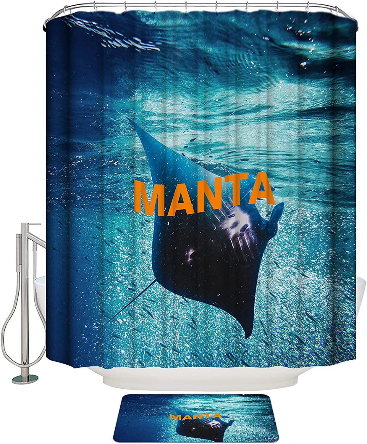 ArneCase Shower Curtain Set Choice SEAL limited product with Non-Slip Fish 2 T of in Rug