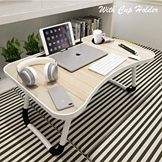 Smiling Cloud® Smart Multi-Purpose Laptop Table with Coffee Cup Holder and Dock Stand/Study Table/Bed Table/Foldable and A...