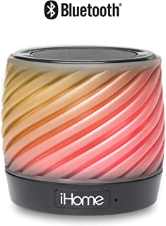 iHome Color Changing Portable Speaker with Speakerphone Soft Rotocast Cabinet 3 Color Changing Modes (IBT50)