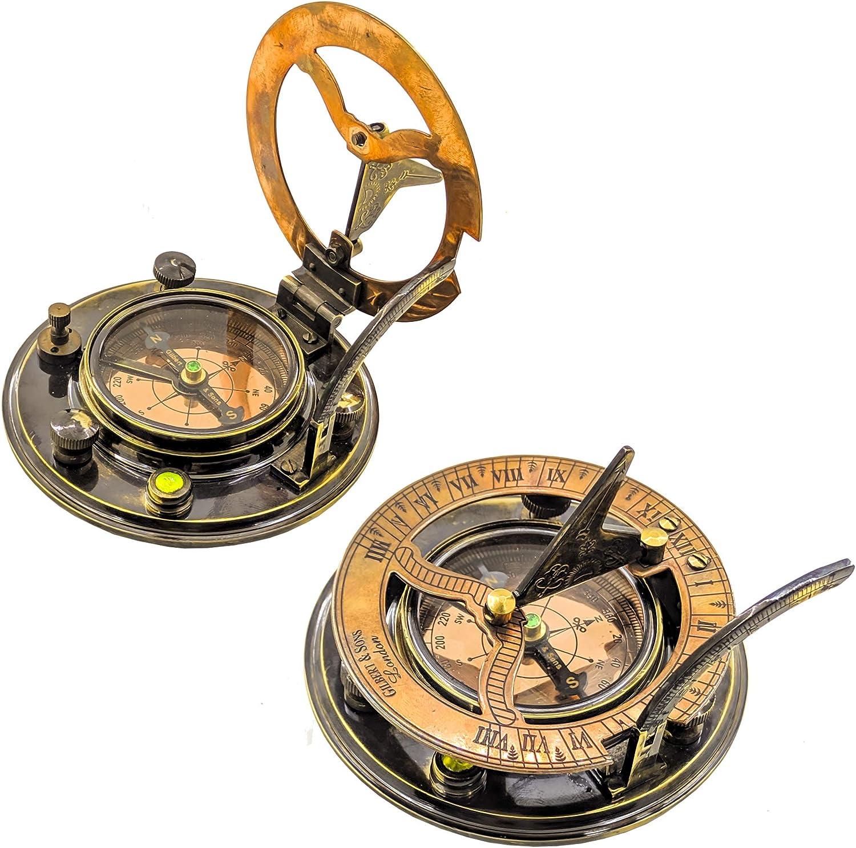 Brass Nautical Round Sundial Sale price Compass Gilbert Cheap mail order sales Sons London Sund