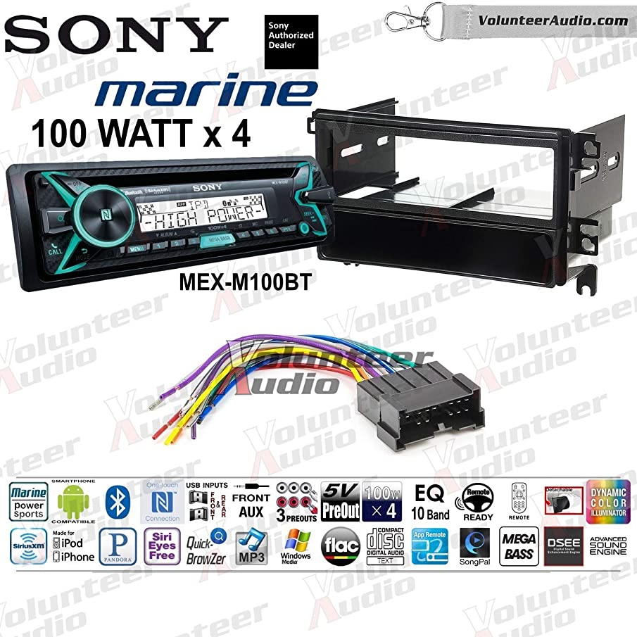 Sony MEX-M100BT Single Din Marine Radio Install Kit With Sirius XM Ready, CD Player, 100W Built-In Amp Fits 2001-2006 Hyundai Santa Fe (Without Monsoon Systems)
