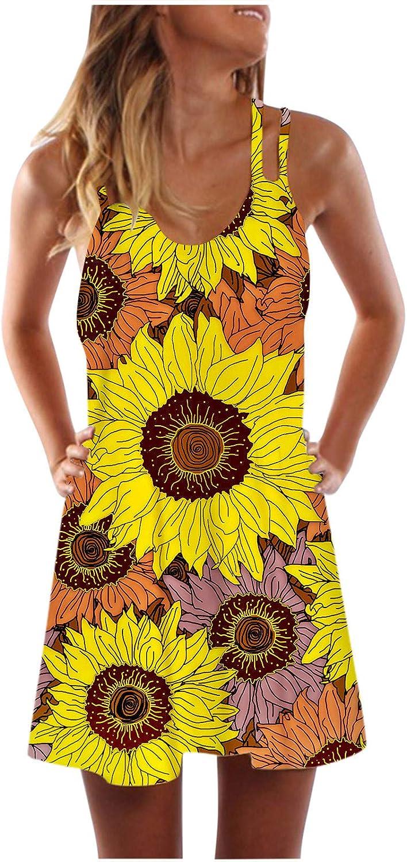 Oiumov Summer Dresses for Women, Women's Sleeveless Sunflower Print Mini Dress Casual Beach Sundress Loose Boho Dress