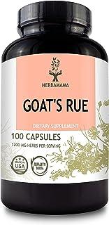HERBAMAMA Goat's Rue Capsules - Galega Officinalis Nutritional Supplement - 1200 mg, 100 Capsules - Promotes Milk Flow, La...