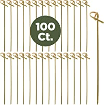 Prexware 6 Inch Bamboo Knot Skewers, Twisted Ends Bamboo Picks Cocktail Picks 100 Ct.