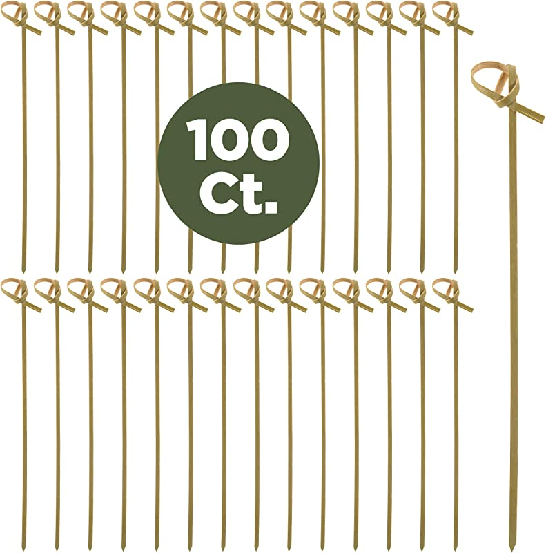 Prexware Bamboo Knot Skewers 6 Inch Knotted Skewers Twisted Ends Bamboo Picks Cocktail Picks 100 Ct
