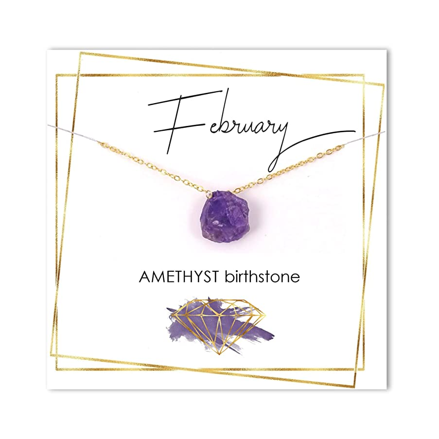 Amethyst Gemstone Necklace/February Raw Stone Jewelry/Birthstone Gift for Her