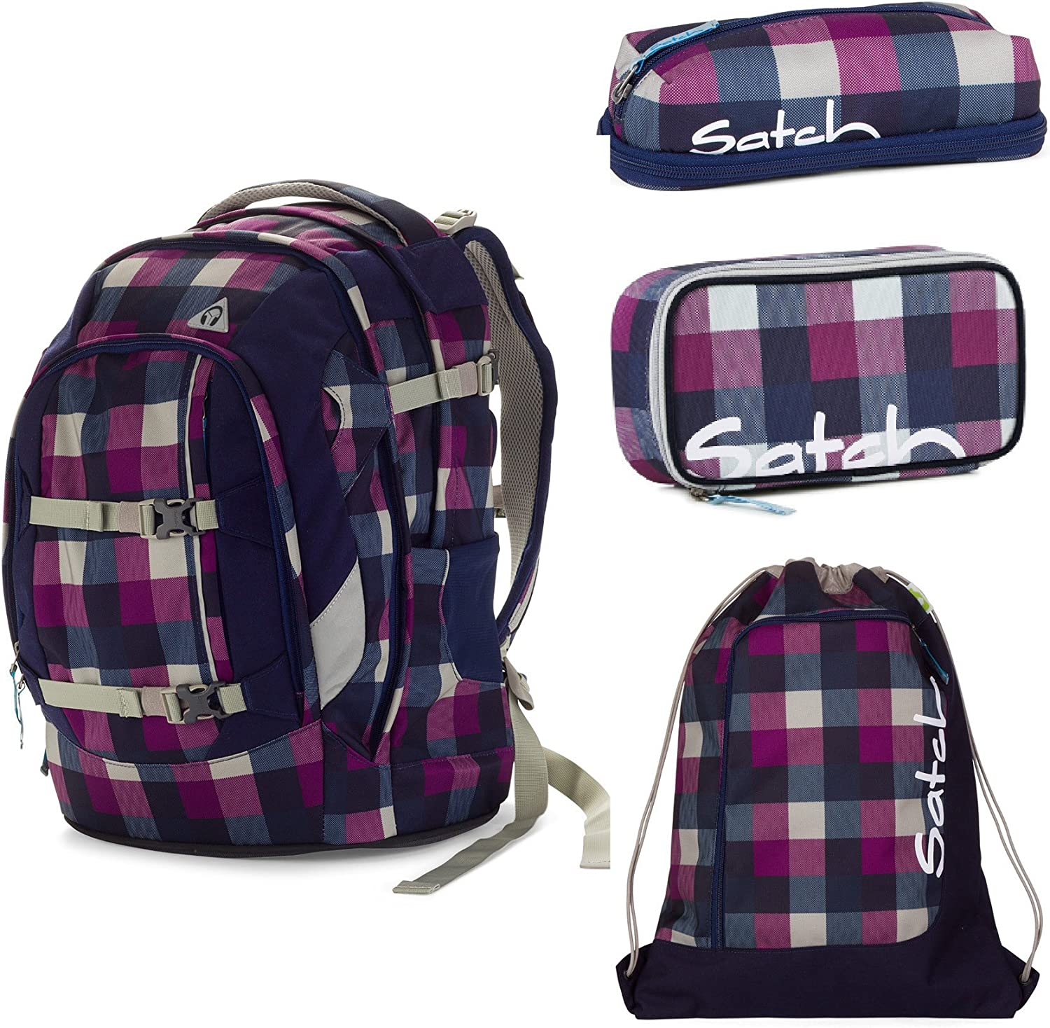 Satch Pack Berry Carry 4-teiliges Set Rucksack, Penbox, Schlamperbox & Sportbeutel