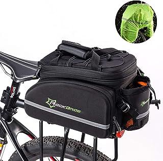ROCKBROS Bolsa Trasera de Bicicleta con Funda Impermeable Alforjas para Portaequipajes Multifunción Extensible Portátil para Ciclismo Viajes