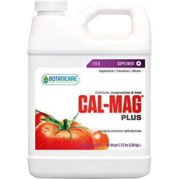 Botanicare HGC732110 Cal-Mag Plus, A Calcium, Magnesium, And Iron Plant Supplement, Corrects Common Plant Deficiencies, Add To Water Or Use As A Spray, 2-0-0 NPK, Quart