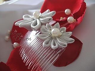 Pettine Pettinino Pettinini per acconciatura sposa con fiori kanzashi