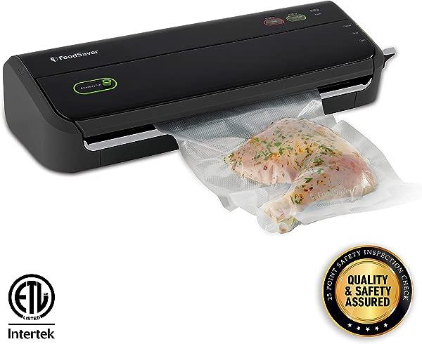 FoodSaver FM2000 Vacuum Sealer Machine With Starter Bags Rolls Safety Certified Black