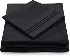 Cosy House Collection Split King Bed Sheets - Black Luxury Sheet Set - Deep Pocket - Super Soft Hotel Bedding - Cool & Wri...