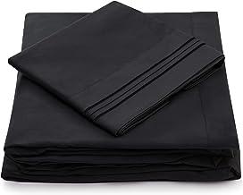 Cosy House Collection Split King Bed Sheets - Black Luxury Sheet Set - Deep Pocket - Super Soft Hotel Bedding - Cool & Wri...