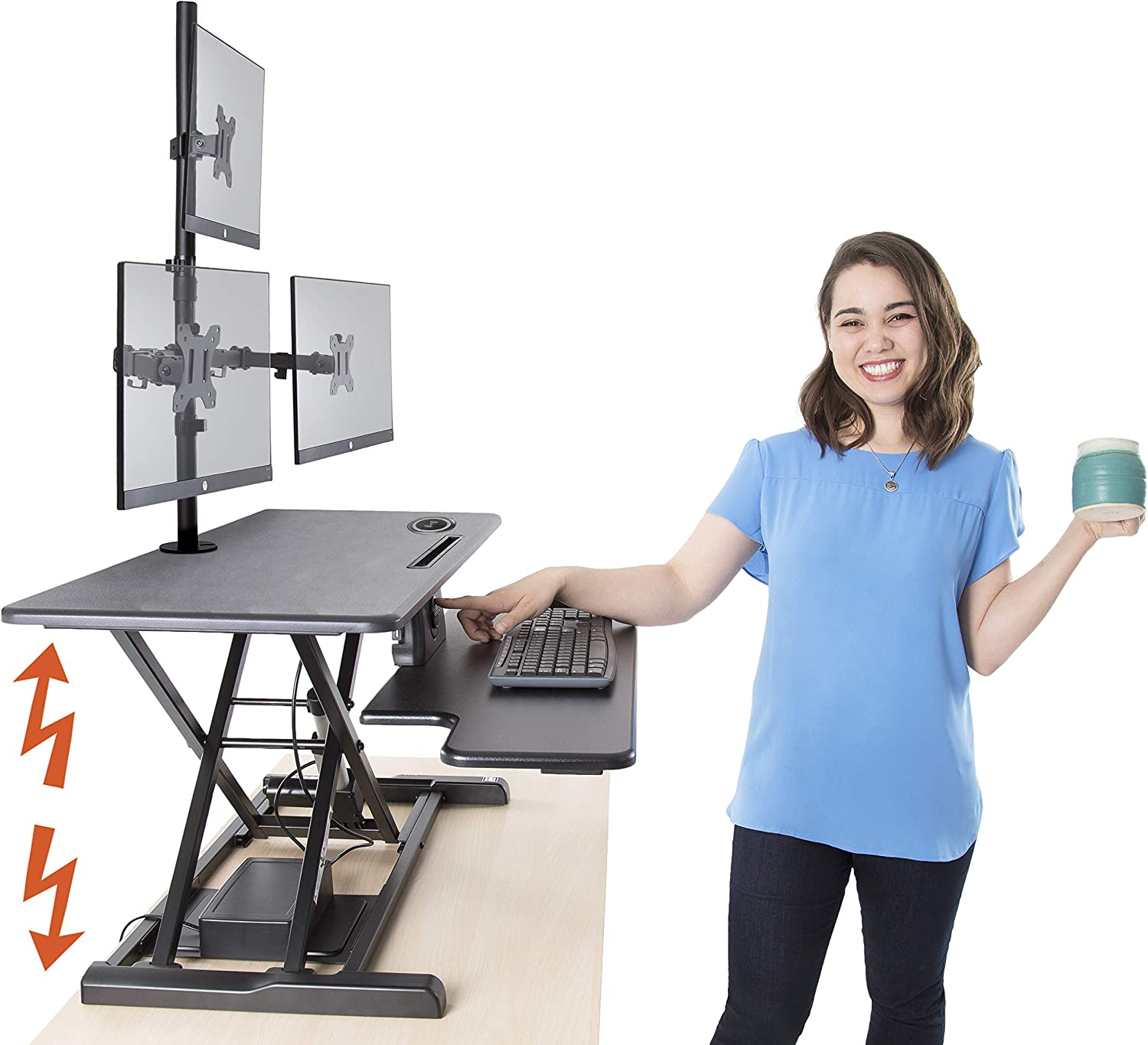 Flexpro Hero Power Standing Desk with Attachable Monitor Stand - Monitor Mount Desk for 3 Monitors - Includes Integrated Phone Charger/Tablet Holder (37.5