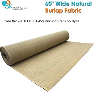 "AK-Trading 60"" Wide Hessian Natural Jute Decoration Burlap Fabric (60"" x 10 Yards), for Arts, Crafts, Interior Design Projects"
