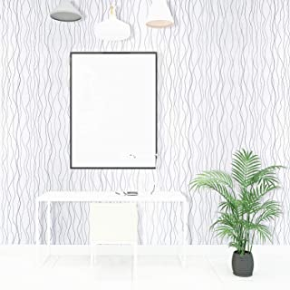 197''x17.7'' Wallpaper White Wave Contact Paper Silver Stripe Peel and Stick Wallpaper Removable Wall Paper Modern Embossed Self Adhesive Wallpaper Decorative Shelf Drawer Liner Wall Covering Vinyl